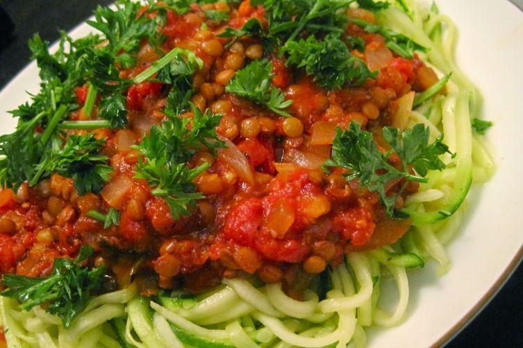 Spaghetti'd Zucchini with Lentil Marinara