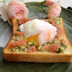 Mentaiko or Bottagra Cucumber Toast with Poached Egg