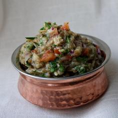 Indian Inspired Eggplant & Tomato Dip