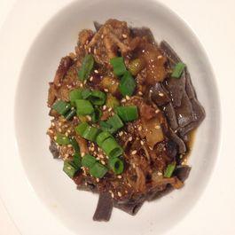 Braised 5 spicepork belly with roasted eggplant, scallions, hoisin and edamame