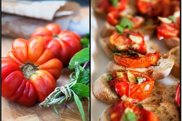 Roasted Heirloom Tomatoes on Multigrain Baguette