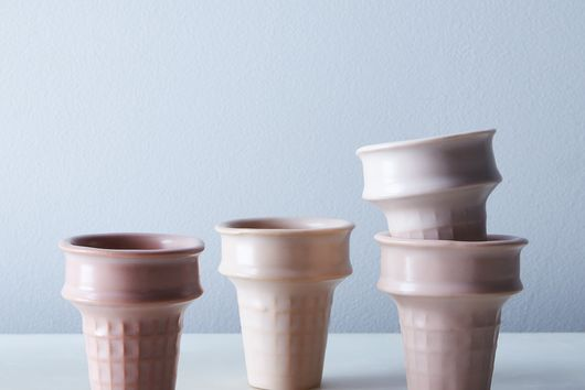 Blush Porcelain Ice Cream Cones (Set of 4)