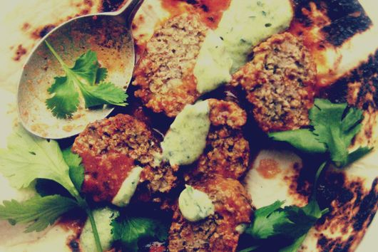 Turkey Meatballs with Parsley Pistou +Meditterean Spices