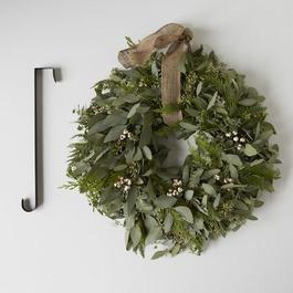 Cedar & Eucalyptus Holiday Wreath with Burlap Ribbon