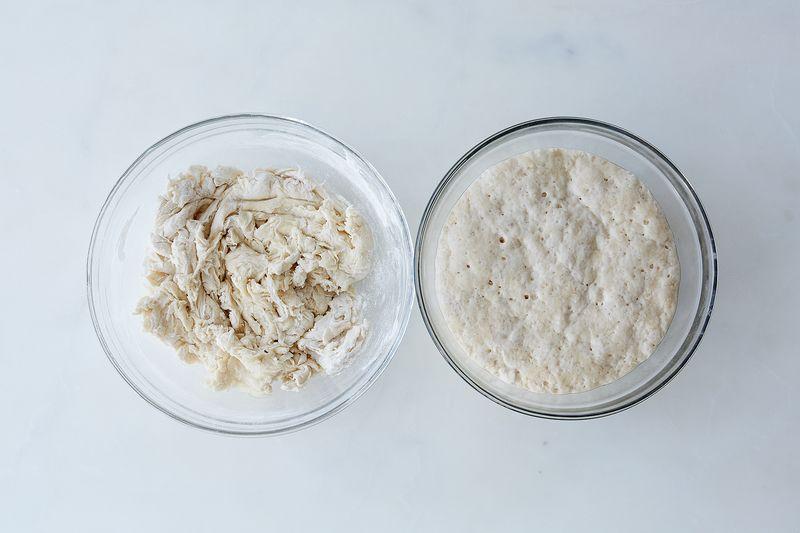 Left, just-mixed pâte fermentée. Right, post-fermentation.