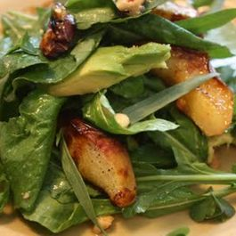 First of the season roasted white nectarines with avocado, tarragon leaves & hazelnut vinaigrette