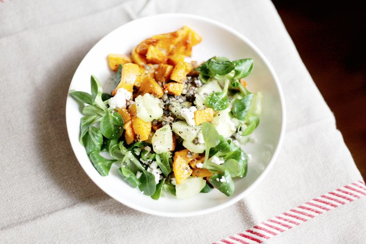 Butternut, lentil and cucumber salad