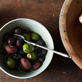 Warm Olives in Anchovy Oil