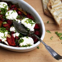 Roasted Red Peppers with Anchovies, Garlic, and Goat Cheese
