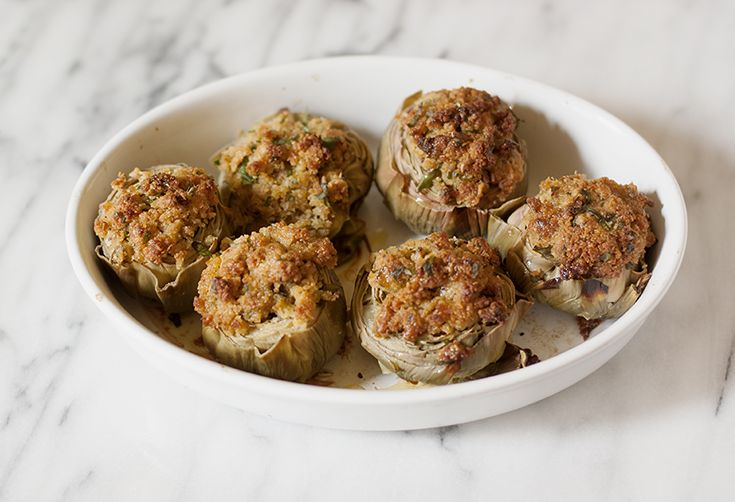 Stuffed Artichokes with Capers & Anchovies (Carciofi Ripieni alla Siciliana)