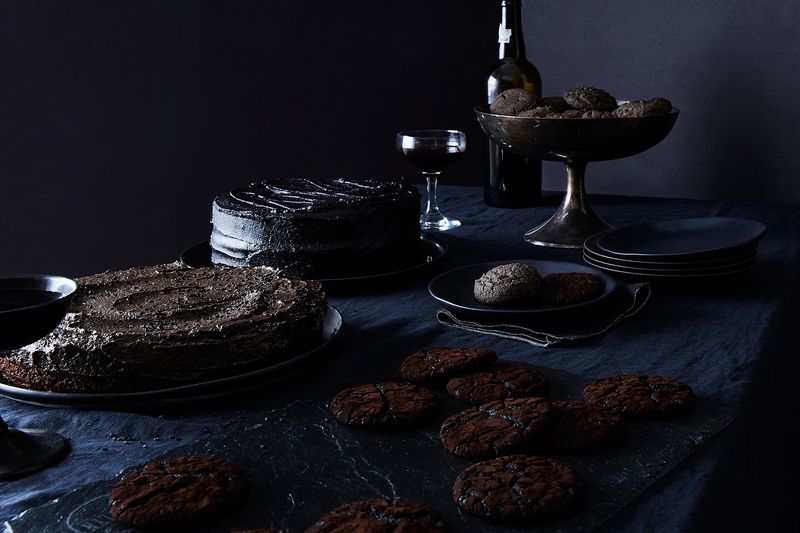 Clockwise from cookie cauldron: tehina shortbread, chocolate crinkle cookies, tahini mousse pie, perfect chocolate cake.