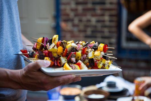 Grilled Summer Veggie Skewers with Hummus