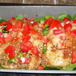 Balsamic Chicken, Spinach, and Tomato Bake