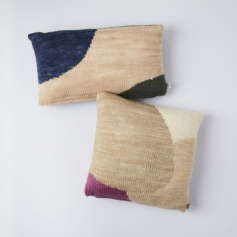 Color Block Knit Pillow