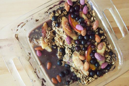 Peach Blueberry Baked Oatmeal