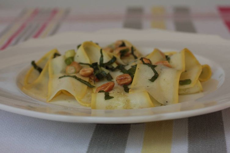 Summer Squash Ribbons with Thai Basil and Peanuts