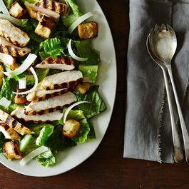 Chicken Caesar Salad with Anchovy-Caesar Vinaigrette and Garlic-Parmesan Croutons