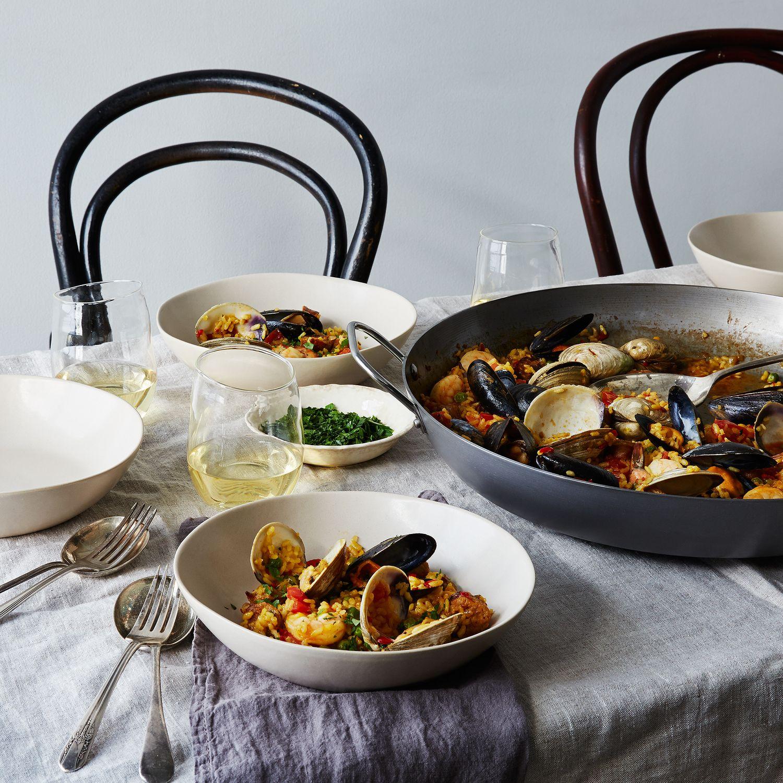 mauviel m 39 steel paella pan on food52. Black Bedroom Furniture Sets. Home Design Ideas