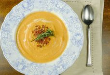 Creamy Apple-Carrot Soup with Rosemary, Crispy Pancetta and Panko