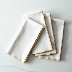 Gold Edged Ecru Dinner Napkins (Set of 4)