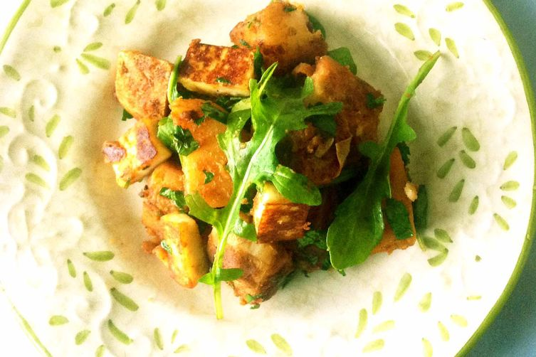 Spiced Lemon Potatoes with Paneer and Arugula