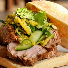 Pork Sandwich w/ Spicy Mango Cucumber Slaw