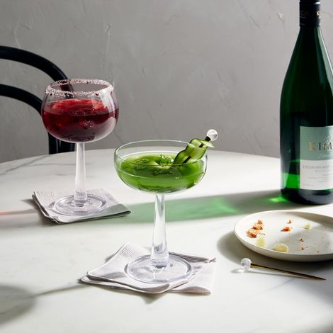 Hand-Blown Retro Cocktail Glasses (Set of 2)