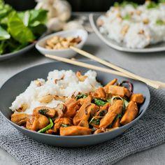 Soy cashew chicken with jasmine rice