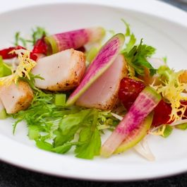 Seared Scallops with Blood Orange, Poached Celery and Dijon Vinaigrette