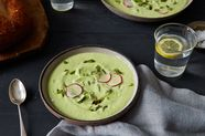 Chilled Avocado, Yogurt, and Charred Serrano Soup with Quick Pickled Radishes