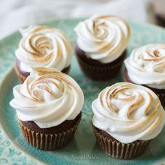 Grain-free Chocolate Cupcakes with Toasted Marshmallow Topping