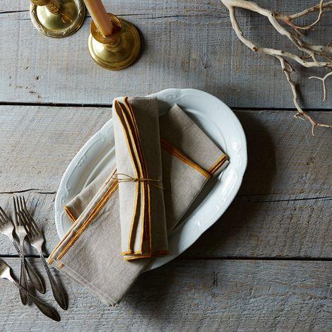Edged Linen Dinner Napkins (Set of 4)