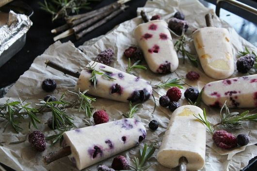 Coconut Milk Ice Pops with Fresh Fruit & Herbs