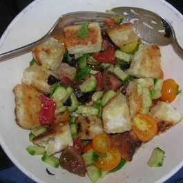 Fresh From the Garden Cherry Tomato and Cucumber Salad with Garlic Rubbed Croutons