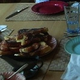 Cardamom French Toast with Maple-Pear Compote and Creme Fraiche