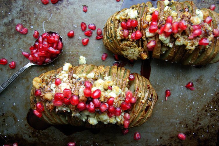 Gorgonzola Hasselback Potatoes with Brown Butter and Pomegranate Reduction