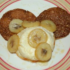 Chestnut Blinis with Ricotta Flan and Caramelized Bananas