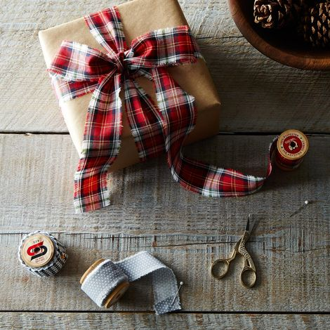 Fabric Ribbon on Vintage Wooden Spools (Set of 3)