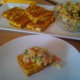 Grilled Indonesian Style Tofu with Peanut Mango Salsa