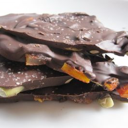 Dark Chocolate Bark with Chile-Spiced Mangos and Pepitas