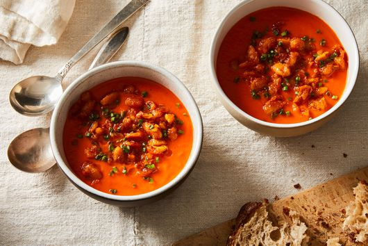 Smoky Tomato & Red Pepper Soup with White Beans