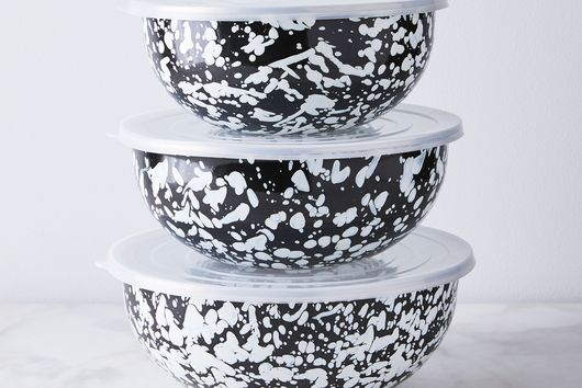 Enamel Nested Prep & Mixing Bowls with Lids (Set of 3)