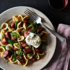 Orecchiette with Cheese Sausage, Snap Peas & Lemony-Ricotta with Mint