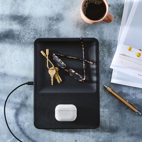 Wireless Phone Charging Leather Tray