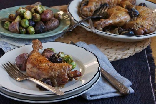 Braised Chicken Legs with Prunes, Brandy, and Dijon
