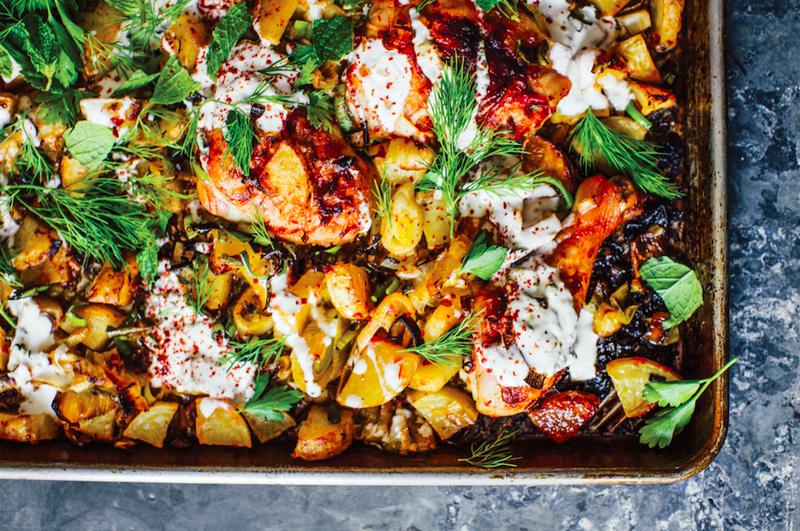 Harissa Chicken with Leeks, Potatoes, and Yogurt