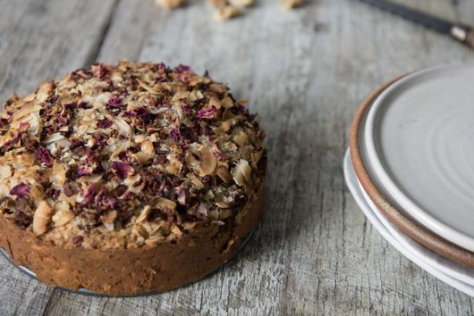 Spiced Coffee Cake with Coconut, Dates + Rose