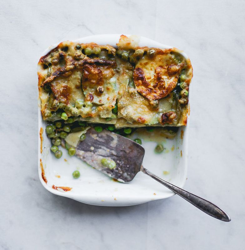 Green Vegetables Lasagna with Zucchini, Peas, and Green Beans