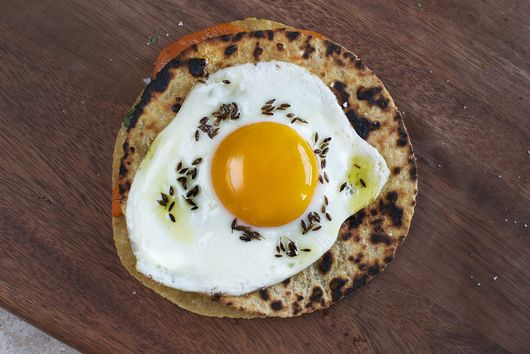 Sweet Potato and Cilantro Quesadilla with Fried Egg and Cumin Oil