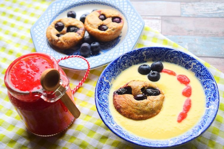Blueberry Pudding, Jam & Custard